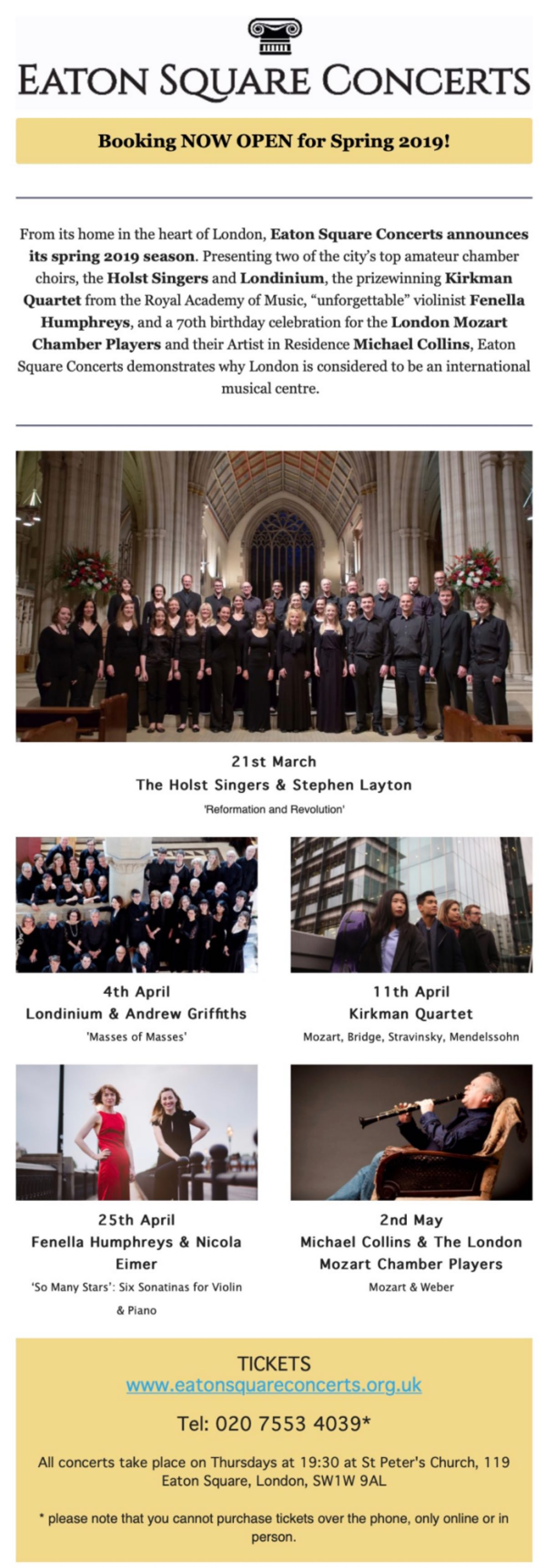 Eaton Square Concerts - Spring 2019